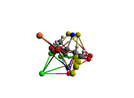 illustration diferrent color molecules on white background illustration