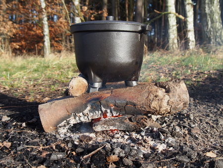 metal pot and fire on forest background photo