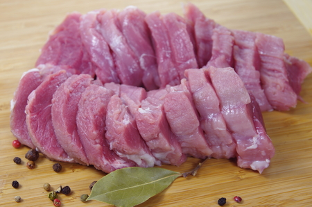 chopping board: raw meat with spices on chopping board
