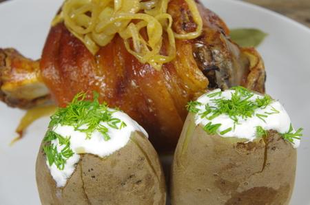 knuckles: appetizing baked knuckles of pork on plate