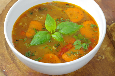 appetizing: appetizing cabbage soup in a clay pot Stock Photo