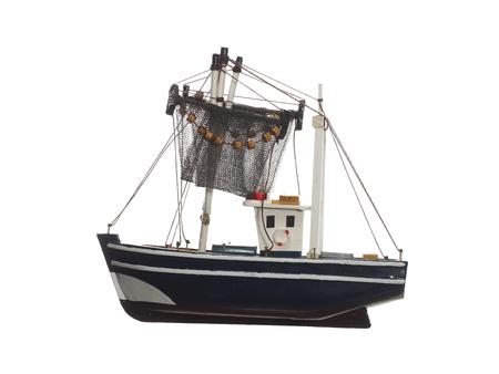 fishingnet: fishing boat on white background