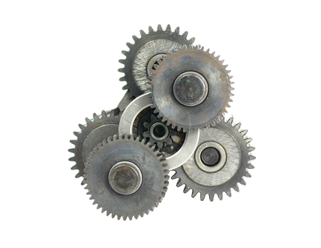 cogwheels: mechanism with three cog-wheels on white background