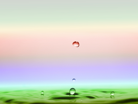 afloat: water drops and waves afloat Stock Photo