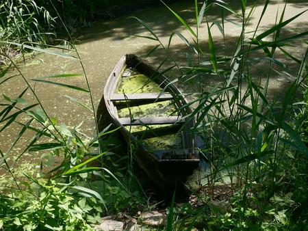 sunken: sunken old boat in lake