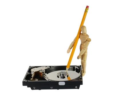 harddisc: symbolic record of data on hard disc Stock Photo