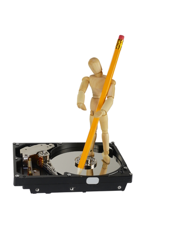 symbolic record of data on hard disc Stock Photo