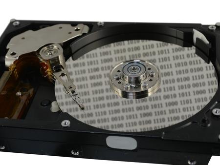 harddisc: disc with data on white background Stock Photo
