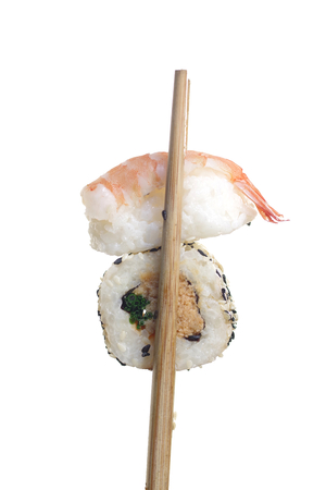 portion sushi  isolated on a white background