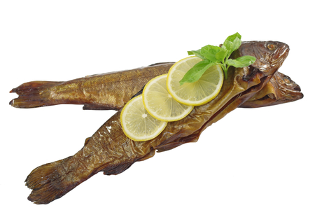 smoked trout with basil and lemon on white background Stock fotó - 92777975