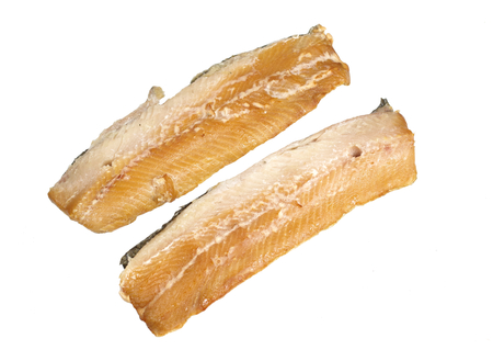 smoked fillet of herring on a white background