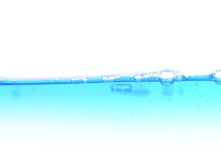 blue  water with bubbles on a white background