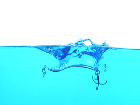 metal angling falling to water bait  on white background