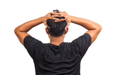 occiput: Back View of the Young Man Head. Isolated on the white background Stock Photo