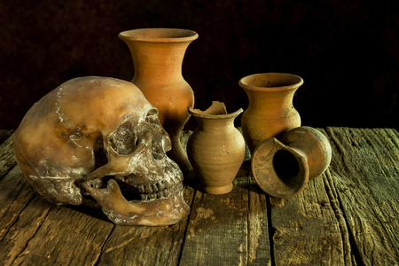 Still Life with a Skull and vase,earthenware Banco de Imagens