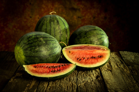 Still Life with Watermelon on wood