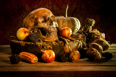 cadaver: still life with skull and fruit on wooden Stock Photo