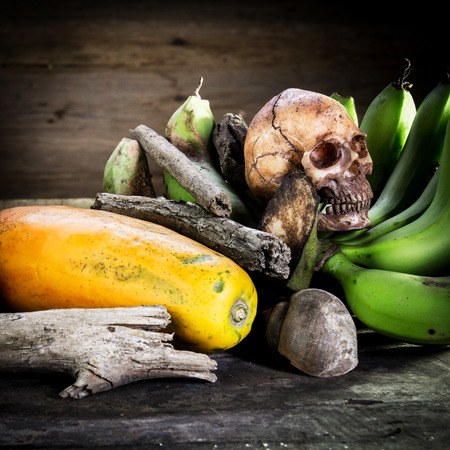 Still life art photography on fruits with human skull death concept