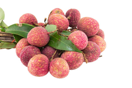 Fresh lychees isolated on white background Stock Photo