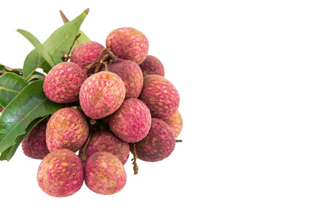 lychees: Fresh lychees isolated on white background Stock Photo