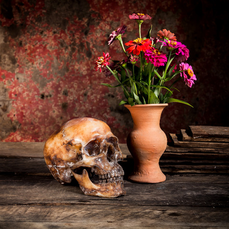 sepia.: Still Life with a Skull and vase,earthenware Stock Photo