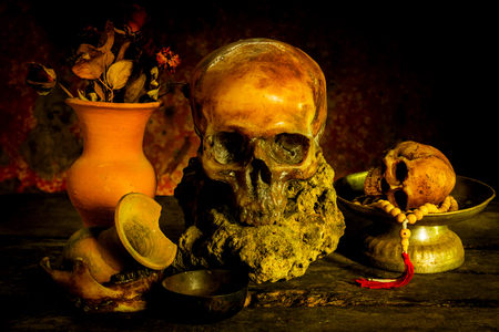 earthenware: Still Life with Skull and vase,earthenware Stock Photo