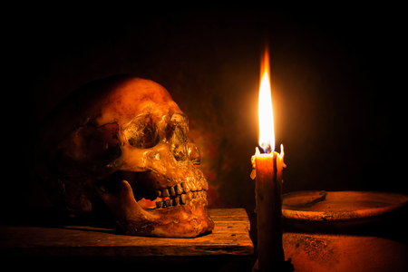 Skull and candle with candlestick on wooden background, still life concept Reklamní fotografie - 68813421