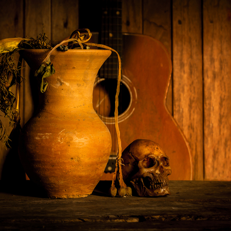 Still Life with Skull and vase,earthenware Banco de Imagens