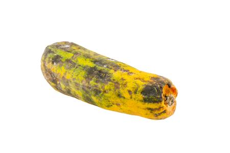 Rotten papaya isolate on white background