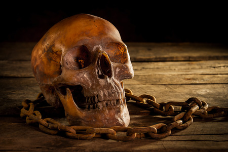 Horror skull with old chain on old wooden floor Background,Still life concept Stock Photo