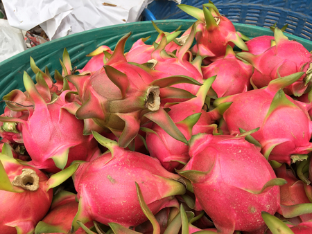 Dragon fruit cooked on basket in Thailand.
