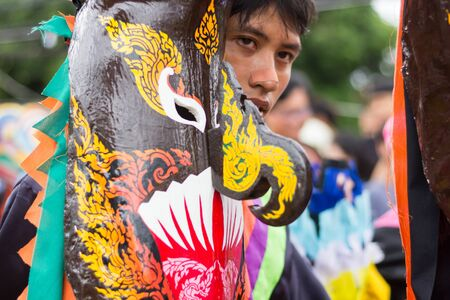 LOEI,THAILAND-JULY 6,2019 : Phi Ta Khon festival, Phi Ta Khon masks and masks international, dance to show Phi Ta Khon  festival in rainy season on july 6 ,2019 in Loei province of Thailand Editorial
