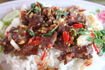 super hot: Fried  beef super hot savory Stock Photo