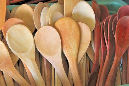 ladles: A lot of wood ladles