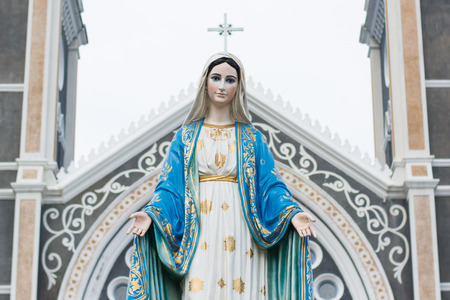 Saint Mary or the Blessed Virgin Mary, the mother of Jesus, in front of the Roman Catholic Diocese or Cathedral of the Immaculate Conception