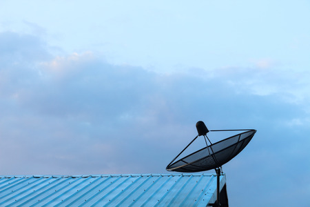 housetop: satellite dish on roof
