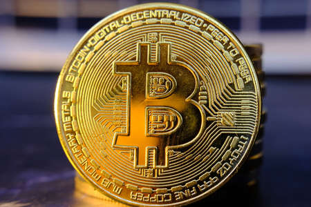 Bitcoin btc cryptocurrency on table and digital currency money concept,crypto-currency Market, Cryptocurrency Financial Systems Concept