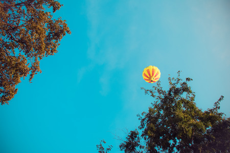 colorful hot air balloons ,. Composition of nature and blue sky background at Ayutthaya , thailand Stock Photo