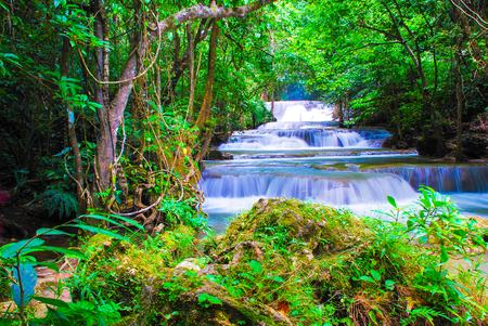 Waterfalls in the forest at Kanchanaburi , thailand 스톡 콘텐츠