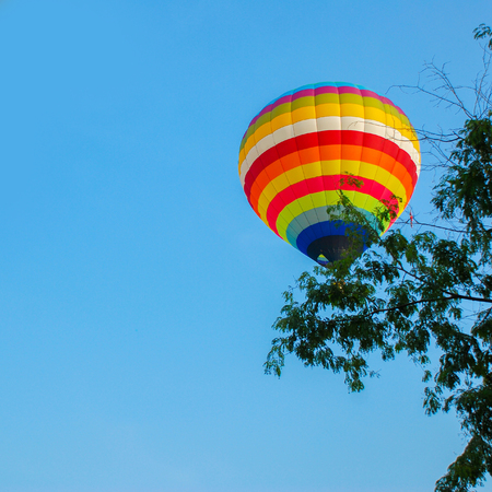colorful hot air balloons ,. Composition of nature and blue sky background at Ayutthaya , thailand. 版權商用圖片