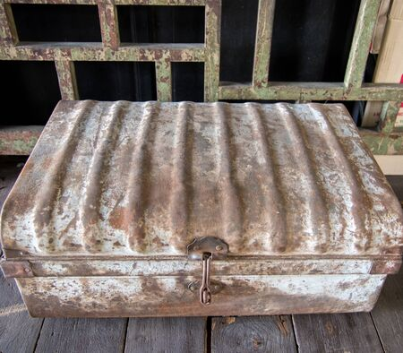 Ancient iron Treasure's chest on wooden , vintage treasure chest