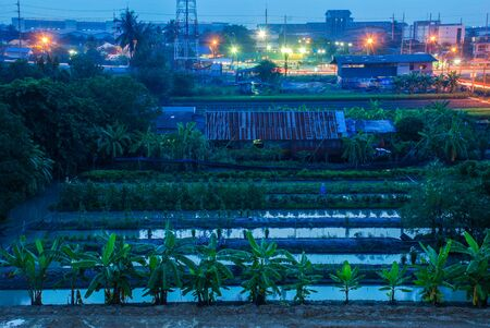 night View of the city Industrial landscape.at thailand Stockfoto