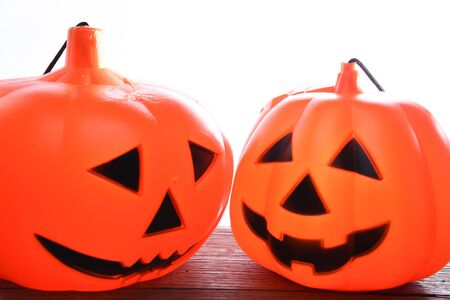 Halloween Two Pumpkins isolated on white background, Halloween background Stock fotó