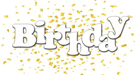 Happy Birthday text Beautiful greeting and Golden foil on white background , template for birthday celebration