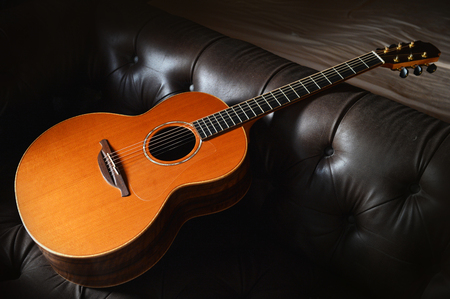 music background: Components of the acoustic guitar. Stock Photo