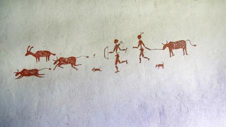 Schilderen op de muur in de grot. Primitief Stockfoto