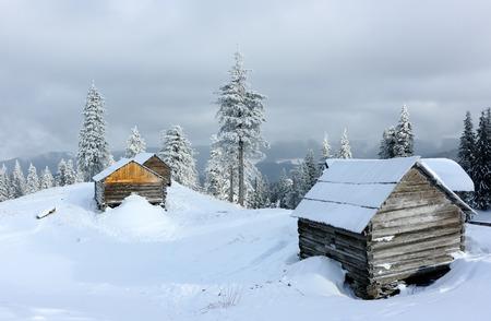 Carpathian mountain landscape in winter. Mountain camp in the Carpathian mountains in the background beautiful fir trees in the winter season.