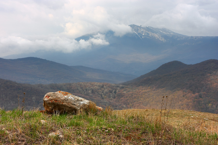 Crimean Mountains. The peak of the Chatyr-Dag mountain in dramatic clouds.