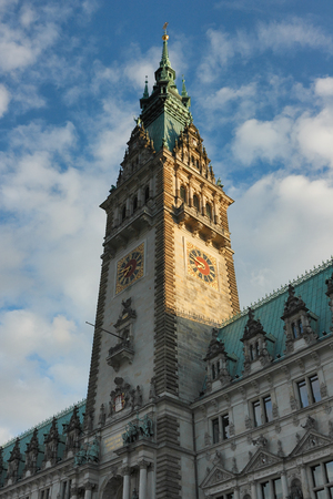 The Hamburg City Hall Rathaus, Germany. The main tower of the City of Hamburg in the evening light.