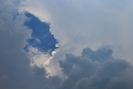 Sky with clouds as background. Texture thundercloud at close range. Stock Photo